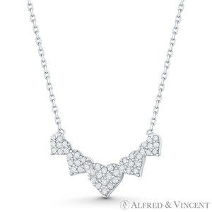 5-Heart Charm CZ Crystal Pave Solid 925 Sterling Silver Pendant & Chain Necklace